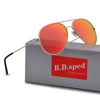 Wholesale orange eyeglasses for sale - Group buy Unisex Fashion Polarized Sunglasses Reflective Mirror Retro Vintage Men Women Outdoor Sun glasses Classic Eyeglasses with free brown cases