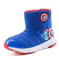 Wholesale kids cartoons snow boots resale online - 2018 New style Children s snow boots Kids high cut Cotton shoes cartoon Thickened villi keep warm Outdoor shoes