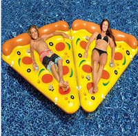 Wholesale swimming bedding resale online - Air Mattress Swimming Pool Water Toy Giant Yellow Inflatable Pizza Slice Floating Bed Raft Swimming Ring floats Pizza mattresses
