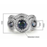 ingrosso anelli maschii viola-Anello in oro bianco con zirconi viola Anello a grappolo per gioielli neutri generici maschili e femminili Anelli di fidanzamento