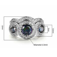 anillos púrpuras masculinos al por mayor-Anillo de racimo de zircon púrpura de chapado en oro blanco para joyería neutra general masculina y femenina Anillos de compromiso