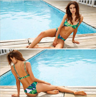 Wholesale female suit fashion - 2018 Fashion Womens Bikini Set Sexy Leaves For Rope Swimsuit Push-up Swimwear Female Brazilian Bikini set Bandeau Summer Beach Bathing Suit