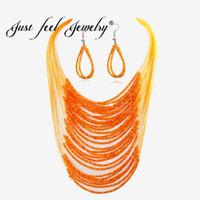 красочные серьги для женщин оптовых-JUST FEEL Africa  Ethnic Jewelry Sets Multi Layer Colorful Statement Necklace Earrings Ethiopia  Jewelry For Women