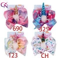 kıllar için doğum günü yayları toptan satış-8 Inç Jojo Yaylar Deri Saç Klip Büyük Denizkızı Saç Bow Çocuk Saç Aksesuarları Doğum Günü Partisi Malzemeleri