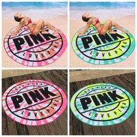 Wholesale green picnic - Pink Microfiber Round Beach Towel 160cm Soft Quick Drying Swimming Bath Sports Towels Picnic Kids Blanket OOA5225