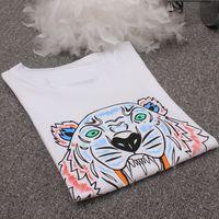 Wholesale casual t shirt tops woman online – design Regular New Fashion Unisex Summer T Shirt Women Tops Tiger Head Letter Print T shirt Cotton Short Sleeve Designer Tshirt Women Men Tops
