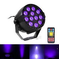 Wholesale dj uv lights - 36W UV LED Stage Light Sound Active 12 LEDs Auto DMX Ultraviolet Strobe Par Black Lights For Disco light DJ Projector Party