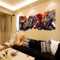 pared del pvc 3d posters al por mayor-Marvel's The Avengers Etiqueta de la pared calcomanías para la habitación de los niños decoración del hogar Wallpaper Poster Nursery Wall Art