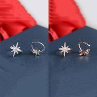 kupfer ohrstulpe durchbohrt großhandel-Neue Art und Weise süße Korea Silber Farbe Copper Star No Pierced Crystal Clip Ohrringe Ohr Manschetten für Frauen