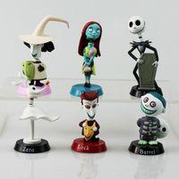 ingrosso jack giocattoli-6 pz / set The Nightmare Before Christmas Henry Selick Clay Animazione Jack Sally Shock Zero Head Knock Bobble Head Figure Giocattoli