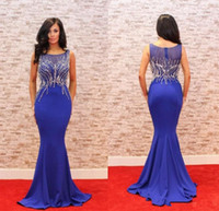 93be0571 Elegant Navy Blue Long Evening Dress 2018 Jewel Beaded Slim Dinner Dress  Mermaid Women Pageant Gown For Formal Prom Party