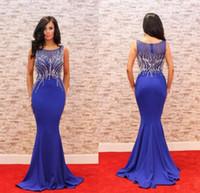 robe de femme sexy achat en gros de-Élégant Bleu Marine Longue Robe De Soirée 2018 Jewel Perlé Slim Dinner Dress Mermaid Femmes Pageant Robe Pour Formel Prom Party