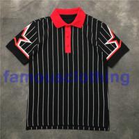 camisa casual de rayas negras al por mayor-2018 hot mens Lapel black white stripes print polos Cuff pentagram polo polo casual algodón polo moda tee tops