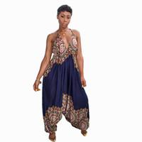 harem overalls frauen großhandel-Dashiki traditionelle afrikanische Print Overall Frauen Harem Strampler Sommer lose Backless Baggy Jumpsuit traditionelle afrikanische Kleidung