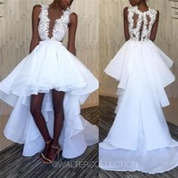 Wholesale high low style vintage wedding dress for sale - Vintage Black Girl Style High Low Wedding Dresses Illusion White Lace Short Front Long Back Bridal Gowns Custom Made