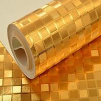 ingrosso carta da parati dorata di lusso-Luxury Glitter argento / oro Sfondi dorati Mosaico KTV Soffitto per carta da parati Colore solido Effetto metallo lucido Rotolo di carta da parati