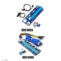 Wholesale power supply gold - PCI-E VER 008C 009S VBitcoin Ver008C With LED VER009S Gold Plated Miner Riser Express 1X 16X Graphics Card USB 3.0 Power Supply