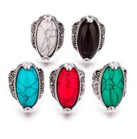 ingrosso gemma verde nera-MIXED modello MIX colore 3 colori retrò turchese pietra anello blu rosso nero verde 17 18 19 20 four size argento antico placcato pietra preziosa