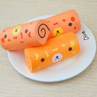 Wholesale Egg Squishy - Egg Roll Slow Rising Squishy Toys Jumbo Phone Charms Squeeze Phone Scented Charms Simulation Cake Kids Gift