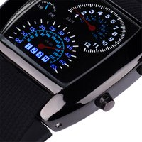 мужская мода flash оптовых-Fashion Aviation Turbo Dial Flash LED Watch Gift Mens Lady Sports Car Meter 9.6