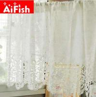 weiße baumwoll-blackout-vorhänge großhandel-Mode Weiße Spitze Hydrotropische Baumwollgewebe Kaffee Vorhang Wasserlösliche Spitze Fenster Behandlungen Küche Panels Decor DY041-5
