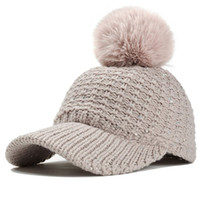 schwarze paillettenhüte großhandel-Mode Winter Pailletten Frauen stricken Hüte mit Krempe Faux Pelz Pompom Cap warme Fleece gefüttert Tan schwarz
