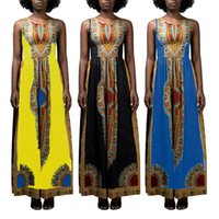 Wholesale digital print vintage dress - New sexy digital printing fashion African Print long dress African Dashiki Dresses Vestidos summer sundress Vintage women Maxi dress