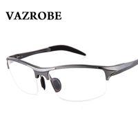 ingrosso bicchieri di bicchieri di prescrizione-Vazrobe (146mm) Occhiali da vista Telaio Uomo Sport Cerniera a molla Occhiali da vista Uomo Mezza cerchio prescrizione Occhiali da vista Uomo miopia diottro