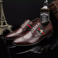 Wholesale Branded Formal Mens Shoe - Italian Luxury Brand Formal Dress Men Shoes Genuine Leather Brogue Business Classic Office Wedding Party Mens Oxford Shoes Plus 39-45