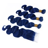 ingrosso capelli di trama colorata-Peruviani blu scuro umani 3Bundles capelli con chiusura del merletto 4x4 corpo onda ondulato Virgin peruviano colorato blu capelli umani tesse estensioni di trama