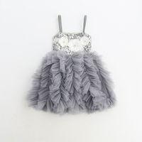 Wholesale Yan Wholesale - Girls Lace Tutu Dress Flower Kids Clothing 2018 Summer Bow Fashion Sleeveless Princess Tulle Cake Dress Yan-035 mc