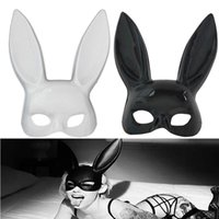 Wholesale drop shipping cosplay online - Sexy Women Mask Black White Rabbit Mask Half Face Masks Cosplay Party Masks Drop Ship