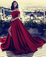 Wholesale vestidos de fiesta resale online - Dark Red V neck Off The Shoulder Long Satin Prom Dresses Sexy High Split Evening Gowns Vestidos De Fiesta