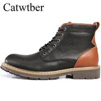 yeni kürk botları toptan satış-Catwtber Yeni Açık Erkekler Ayak Bileği Iş Boots Klasik Kürk Deri Erkekler Moda Eğlence Sonbahar Takım Ile Sıcak Kar Botları