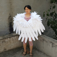 Wholesale black cosplay wings online - High quality white soft feather angel wings Black Devil wing for game cosplay Children s Day Wedding Party deco shooting props wings
