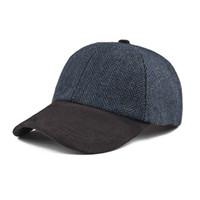 el yapımı beyzbol kapakları toptan satış-VOBOOM Beyzbol Şapkası Erkekler El Yapımı Balıksırtı Yün Blend Şapka Kadınlar Güz Kış Topu Lacivert 170 Caps