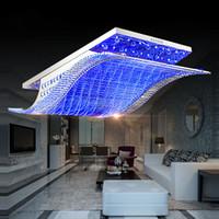 moderna lámpara de cristal led rectangular al por mayor-65 cm / 81 cm / 108 cm Moderna luz de cristal candelabros lámpara de techo rectangular sala de estar dormitorio accesorios de iluminación colgante Droplight