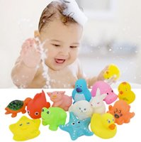 Wholesale baby soft sounds - kid bath toy Animals Water Toys Colorful Soft Rubber Float Squeeze Sound Squeaky Bathing Toy For Baby Water Play Toy KKA4802