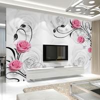 rosas de papel de parede para quarto venda por atacado-Personalizado 3D Flor Foto Papel De Parede Sala de estar Quarto Sofá TV Fundo Papel De Parede Rose Flores Mural De Parede Papel De Parede Rolo