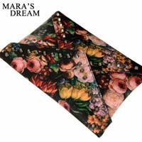 ingrosso dipinti da sogno-Sogno di Mara Nuovo design personalizzato dipinti moda fiore rivetti borsa busta frizione borse borsa tracolla casual