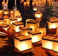Wholesale candle lanterns for weddings - DIY Manual Paper Lanterns Square Floating Water Lantern For Birthday Party Wedding Home Festival Decoration With Candle 1 5hy YY