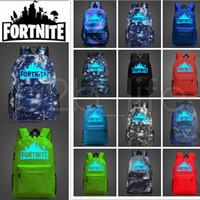 Wholesale outdoor clothing fabrics - 12 Designs 20L Fortnite Battle Royale School Bag Noctilucous Backpack Student Shoulder Bag Luminous Backpacks Outdoor Bags AAA613 12pcs