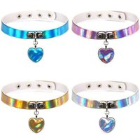 Wholesale Stainless Steel Collars For Slaves - Rainbow Laser Love Heart Pendant PU Leather Choker Necklace Collar Sub Slave Necklace for Women Statement Jewelry