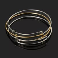 demir kaplama bilezikler toptan satış-Toptan Satış - Sıcak Satış Altın / Rodyum Kaplama Ayarlanabilir Genişletilebilir Demir Bileklik Bileklik Moda Tel Bilezikler Kadınlar Takı için
