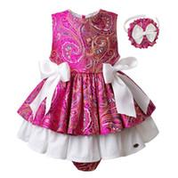 roupas para crianças venda por atacado-Conjuntos de Roupas Pettigirl Bebê Meninas Hot Pink Crianças Roupa Meninas Imprimir Flor Tops Skirted Shorts Roupas Crianças G-DMCS101-B211