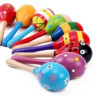 mois de jouets pour bébé en bois achat en gros de-Babys Wooden Rattle jouets 0-12 mois Bébé Jouet enfants Hochets Développer des instruments de musique Baby Intelligence Jouets éducatifs