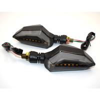 führte motorrad glühbirnen großhandel-Für 8 MM Motorrad LED Blinker Hohe Qualität Licht 12 LED Dual Farbe Anzeige Bernstein Blinklicht Drehen Glühbirne