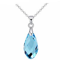 tränenkette halskette großhandel-Blaue Teardrop Halsketten Anhänger Kristall von Swarovski Elements Neue Modeschmuck Heißer Verkauf Party Ornamente 20709