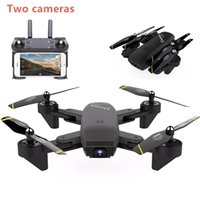 Wholesale mini rc quadcopter - New S169 RC Drone Double Camera MINI Fold Selfie RC Helicopter With Wifi FPV 2MP Camera Quadcopter VS Visuo XS809HW drone sg700