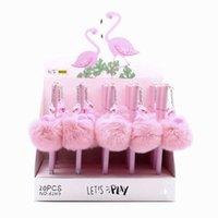 stylo kawaii rose achat en gros de-1 Pcs Mignon Kawaii Rose Flamingo Boule Chaude En Peluche Pendentif En Gel Gel Licorne Stylo À Encre Papeterie Cadeau Pour L'école Fournitures de Bureau 0.5mm